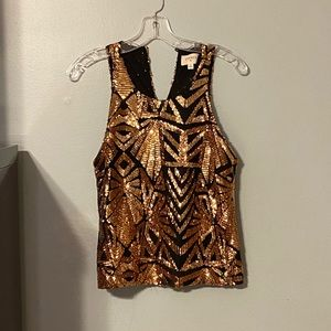 NWOT Gold And Black Sequin Tank